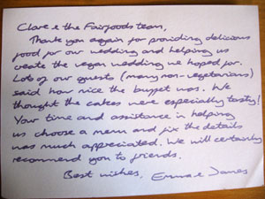 Feedback card with wedding testimonial