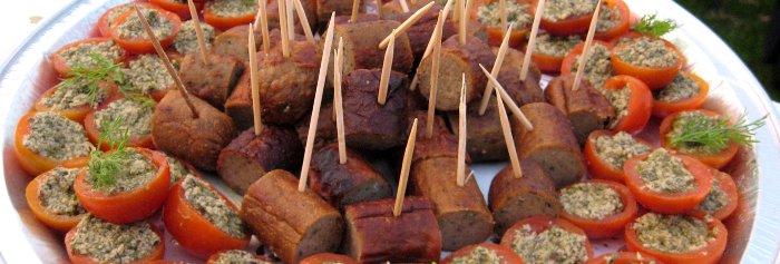 sausage on sticks, vegan
