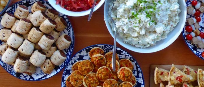 Buffet Sausage Rolls Salad Quiches Vegan